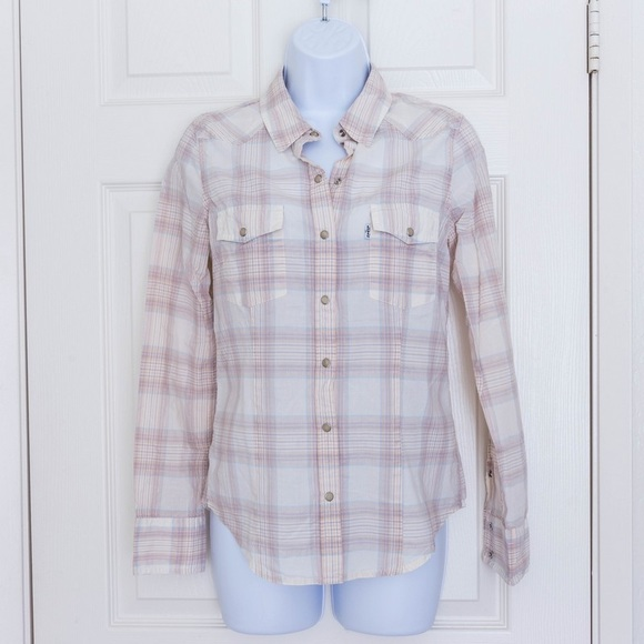 52f7d94519823 Levi's - Pastel Plaid Shirt Blouse